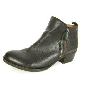 LUCKY BRAND Basel Dark Brown Leather Booties 7 EUC